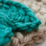 teal and cream bow crochet earwarme..