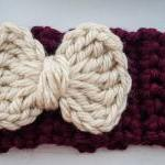 burgundy and cream bow crochet earw..
